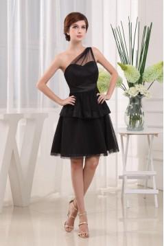 A-Line One-Shoulder Short Black Prom Evening Dresses ED010821