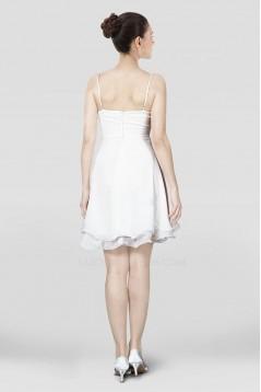 A-Line Short Spaghetti Strap White Chiffon Prom Evening Dresses ED010822