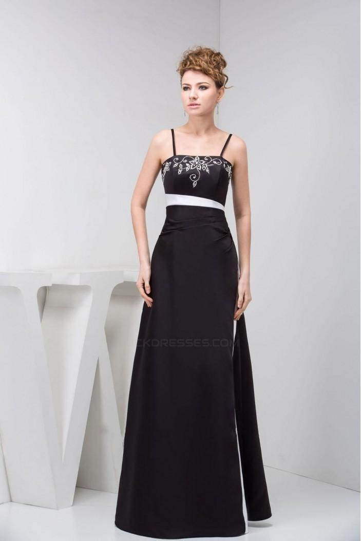 A-Line Spaghetti Strap Long Black Prom Evening Dresses ED010823