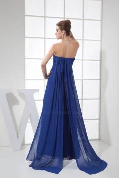 Long Blue Chiffon Prom Evening Dresses Sweetheart Split-Front ED010825