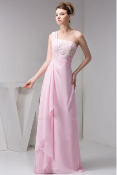 A-Line One-Shoulder Long Pink Chiffon Prom Evening Dresses ED010826