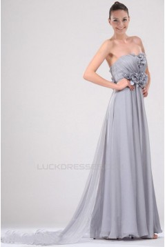 A-Line Strapless Long Chiffon Prom Evening Dresses ED010827
