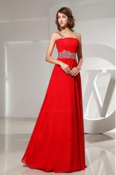 A-Line One-Shoulder Beaded Long Red Chiffon Prom Evening Dresses ED010831