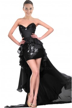 High Low Sweetheart Black Sequins Cocktail Prom Evening Dresses ED010833