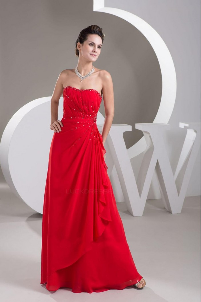A-Line Strapless Beaded Long Red Chiffon Prom Evening Dresses ED010836