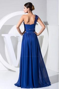 A-Line One-Shoulder Beaded Long Blue Chiffon Prom Evening Dresses ED010837
