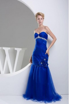 Trumpet/Mermaid Sweetheart Beaded Long Blue Prom Evening Dresses ED010838