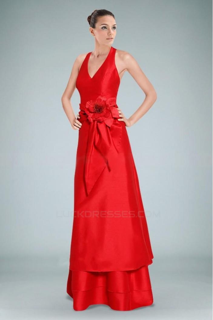 A-Line Halter V-Neck Long Red Prom Evening Dresses ED010839