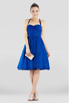 A-Line Halter Short Blue Chiffon Prom Evening Dresses ED010840
