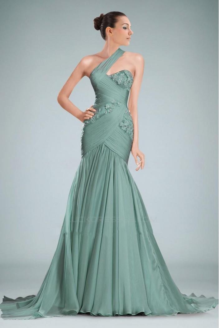 Trumpet/Mermaid One-Shoulder Long Prom Evening Dresses ED010842