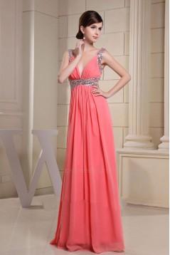 A-Line Beaded Straps Sleeveless Long Chiffon Prom Evening Dresses ED010845
