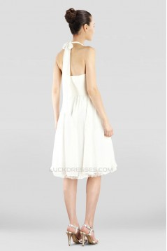 A-Line Halter Short White Chiffon Prom Evening Dresses ED010846