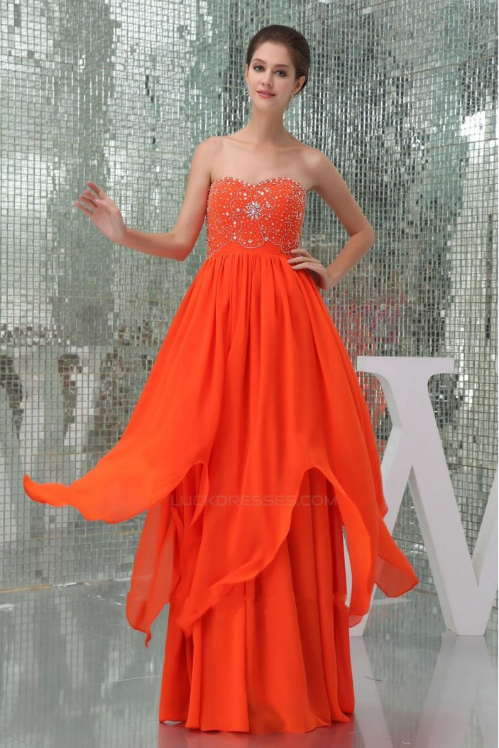 A-Line Sweetheart Beaded Long Chiffon Prom Evening Dresses ED010849