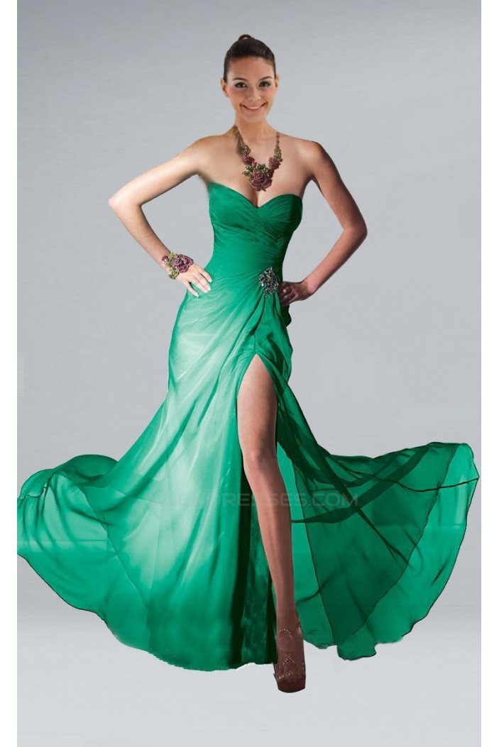 Sheath Sweetheart Long Green Chiffon Prom Evening Formal Dresses ED010853
