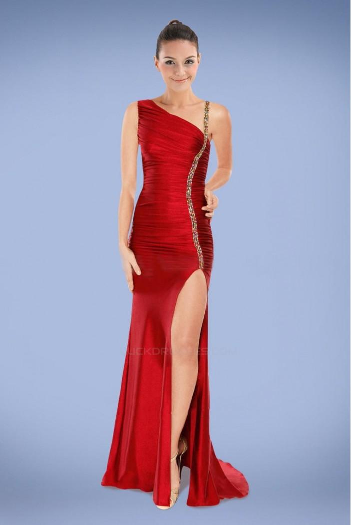 Sheath Split-Frong Long Red Beaded Prom Evening Formal Dresses ED010856