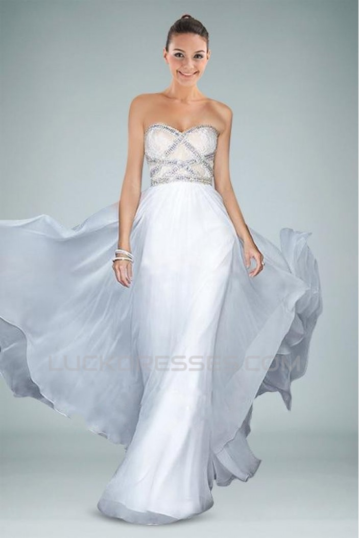 A-Line Sweetheart White Beaded Long Chiffon Prom Evening Formal Dresses ED010858