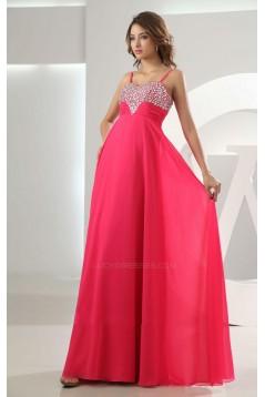A-Line Spaghetti Strap Beaded Long Chiffon Prom Evening Formal Dresses ED010859