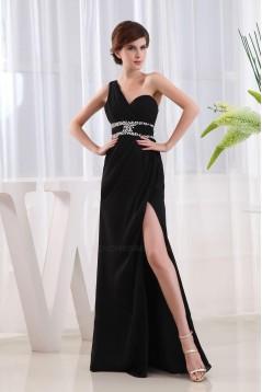 Sheath One-Shoulder Beaded Split-Front Black Long Chiffon Prom Evening Formal Dresses ED010862