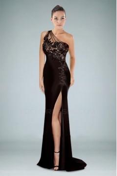 Sheath One-Shoulder Long Prom Evening Formal Dresses ED010863