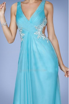 Sheath V-Neck Blue Long Chiffon Prom Evening Formal Dresses ED010864