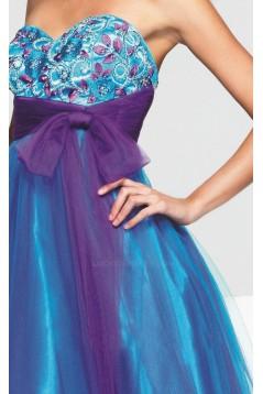 Modest Sweetheart Tulle Floor Length Prom Evening Formal Dresses ED010865