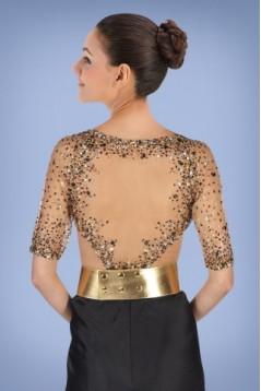 Sheath V-Neck Half Sleeve Beaded Long Prom Evening Formal Dresses ED010866
