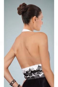 A-Line Halter Black White Long Prom Evening Formal Dresses ED010867