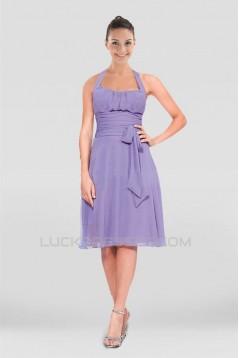 A-Line Halter Short Chiffon Bridesmaid Dresses ED010868
