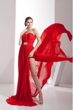 Sweetheart Long Red Chiffon Split Prom Evening Formal Dresses ED010872