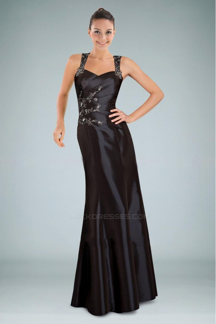 Trumpet/Mermaid Long Black Prom Evening Formal Dresses ED010873