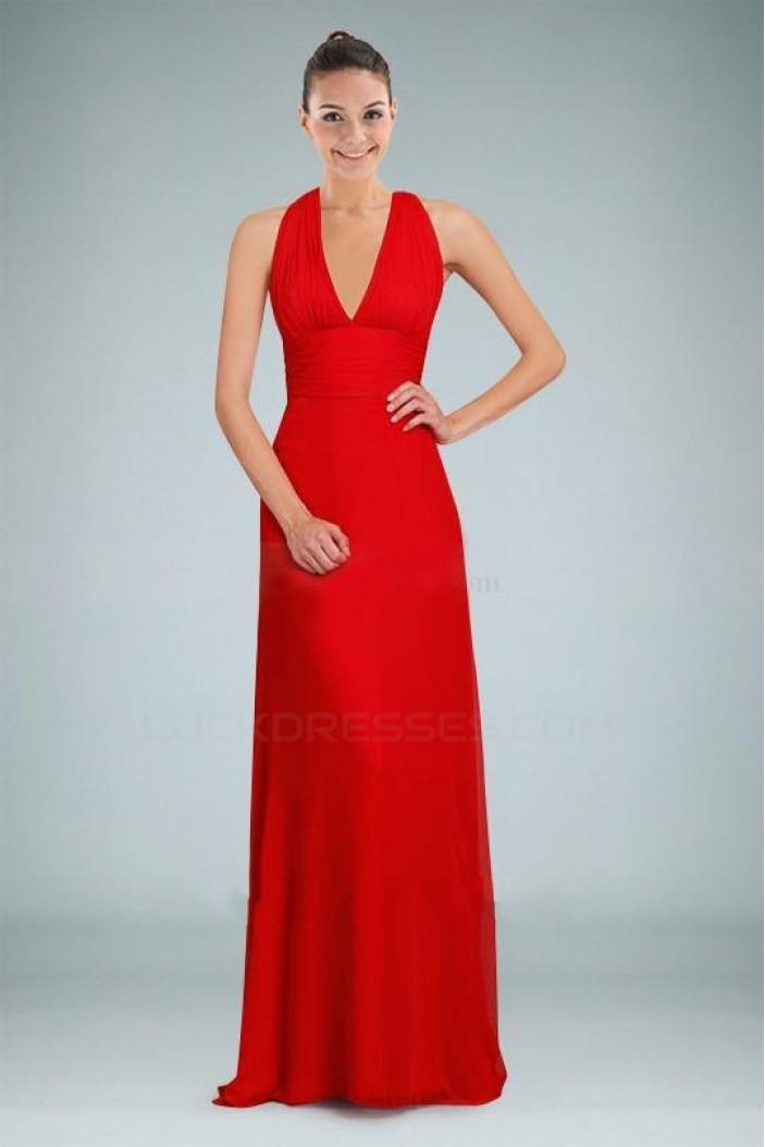 V-Neck Red Long Chiffon Prom Evening Formal Bridesmaid Dresses ED010874
