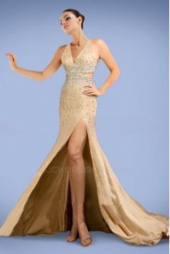 Beaded Split-Front Long Chiffon Prom Evening Formal Dresses ED010879