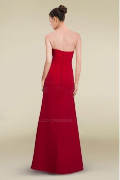 A-Line Strapless Red Long Chiffon Prom Evening Formal Dresses ED010880