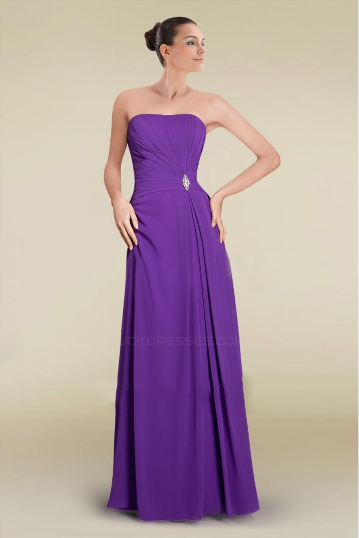 A-Line Strapless Purple Long Chiffon Prom Evening Formal Bridesmaid Dresses ED010882