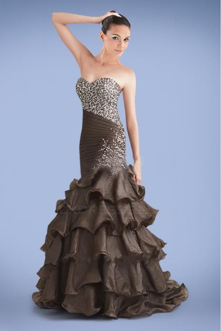 Trumpet/Mermaid Sweetheart Ruffle Beaded Long Prom Evening Formal Dresses ED010885