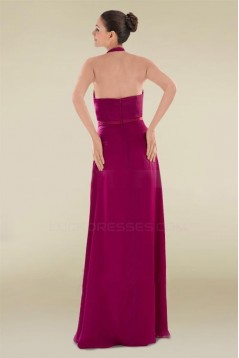 A-Line Halter Long Chiffon Prom Evening Formal Dresses ED010888