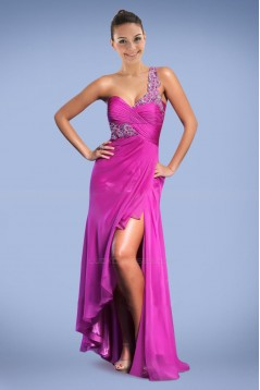 Sheath One-Shoulder Split-Front Beaded Long Chiffon Prom Evening Formal Dresses ED010893