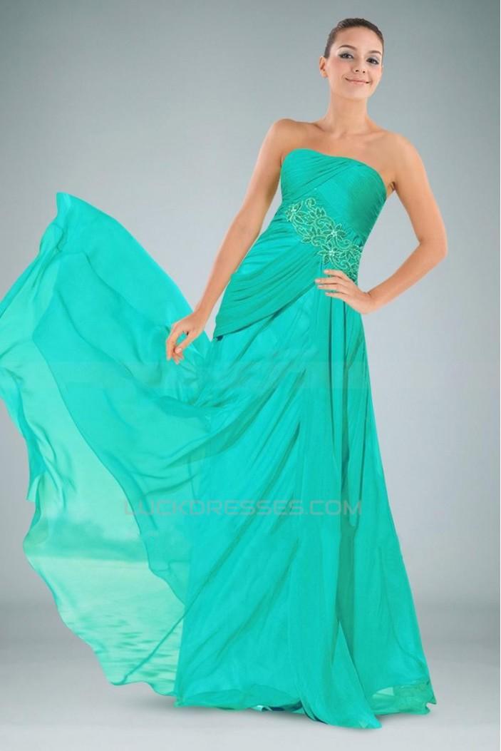 A-Line Strapless Long Chiffon Prom Evening Formal Dresses ED010894