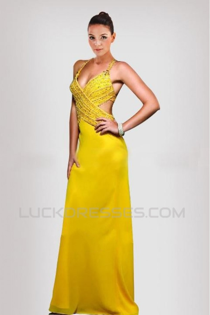 Sheath Beaded Long Chiffon Prom Evening Formal Dresses ED010899