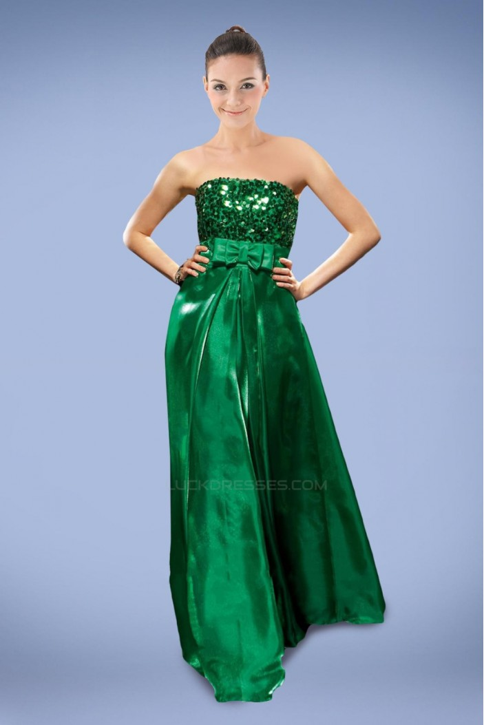 A-Line Strapless Sequins Long Green Prom Evening Formal Dresses ED010903