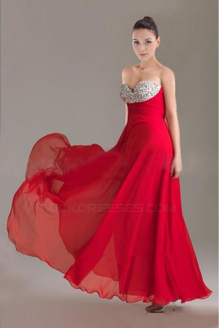 A-Line Sweetheart Beaded Long Chiffon Prom Evening Formal Dresses ED010904
