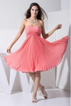 A-Line Strapless Beaded Pleated Short Chiffon Prom Evening Formal Dresses ED010906