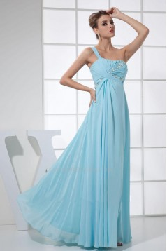 Empire One-Shoulder Beaded Blue Long Chiffon Prom Evening Formal Dresses Maternity Dresses ED010907