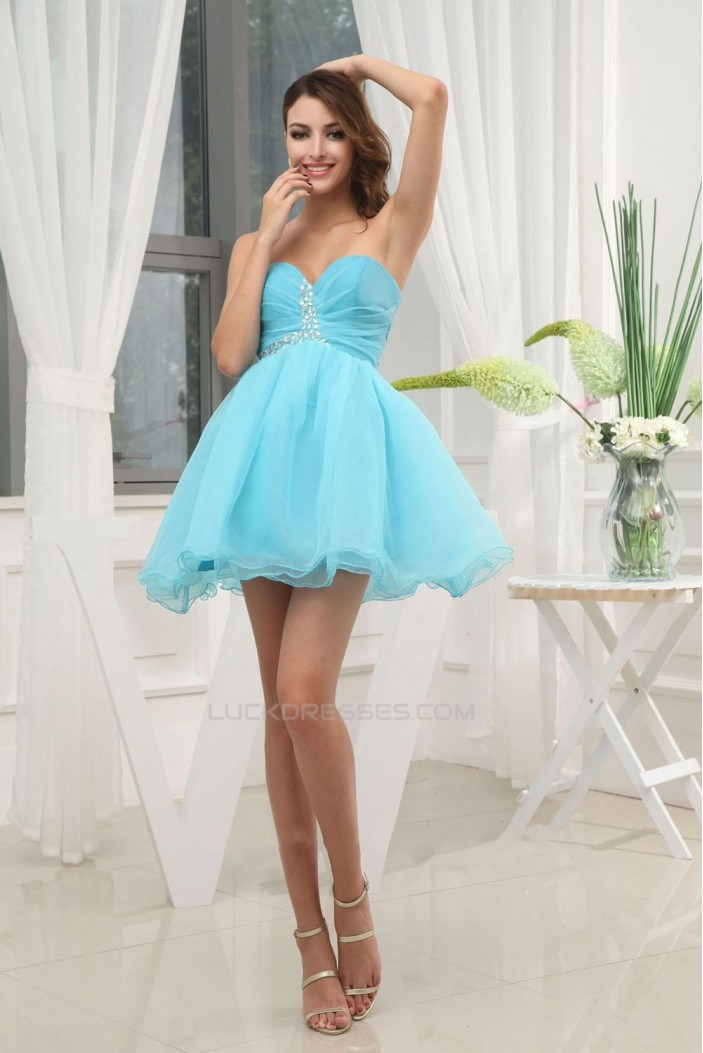 Short/Mini Beaded Sweetheart Blue Prom Evening Formal Dresses ED010908