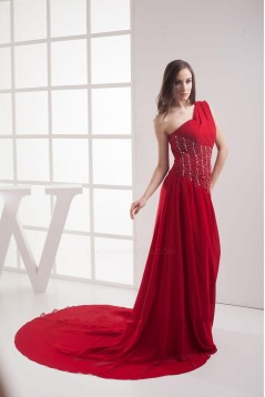 A-Line One-Shoulder Beaded Red Long Chiffon Prom Evening Formal Dresses ED010911