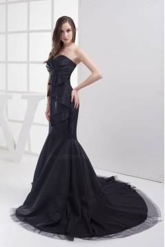 Trumpet/Mermaid Sweetheart Sweep Train Black Long Prom Evening Formal Dresses ED010912