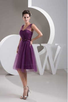 A-Line Short Tulle Prom Evening Formal Bridesmaid Dresses ED010913