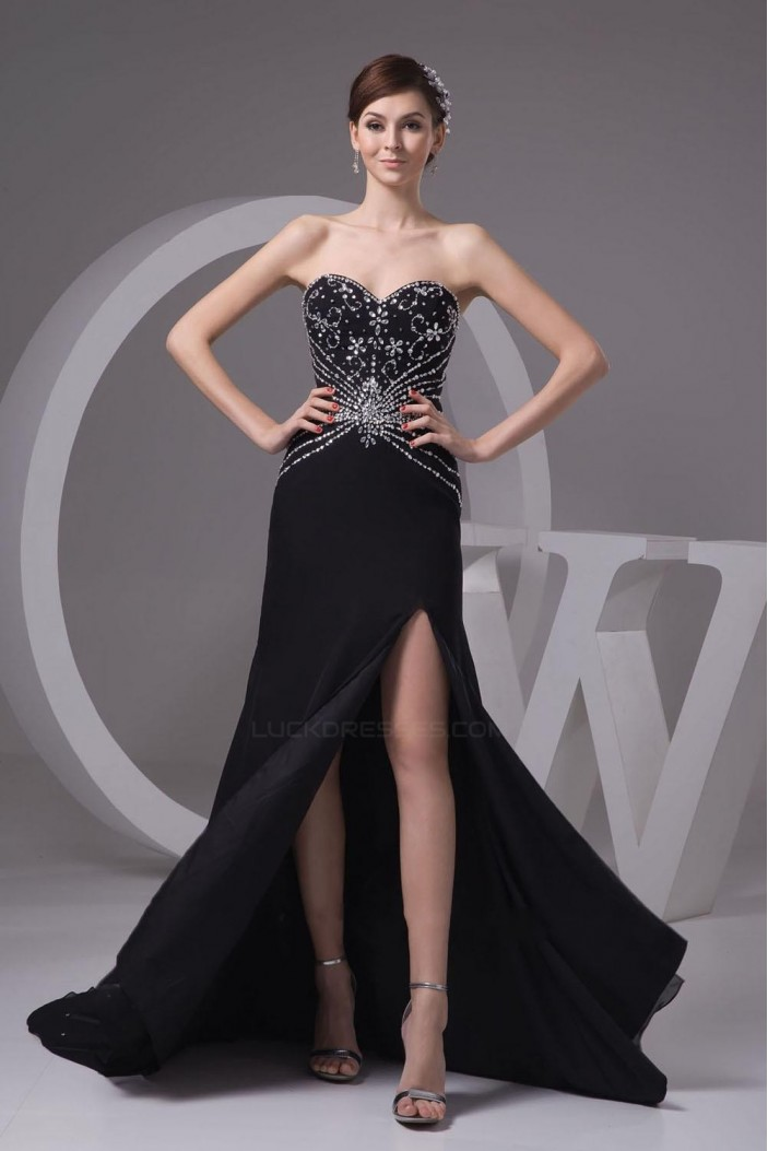 Beaded Sweetheart Split-Front Black Long Chiffon Prom Evening Formal Dresses ED010914