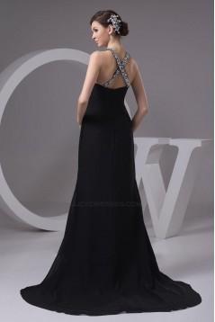 Beaded Sweetheart Split-Front Black Long Chiffon Prom Evening Formal Dresses ED010915