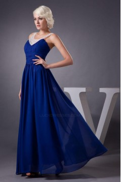 A-Line Beaded Blue Long Chiffon Prom Evening Formal Dresses ED010917